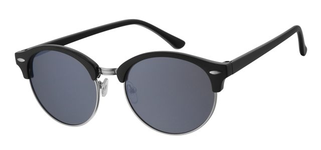 Ronde clubmaster zonnebril - A30138-2 Lens Grijs Montuur Zwart