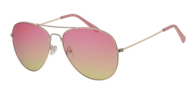 c53951bab40e8f Gouden metalen piloten zonnebril met rozegele lens