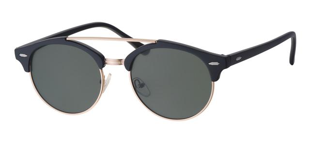Ronde clubmaster zonnebril - A30144-1 Lens Groen Montuur Zwart