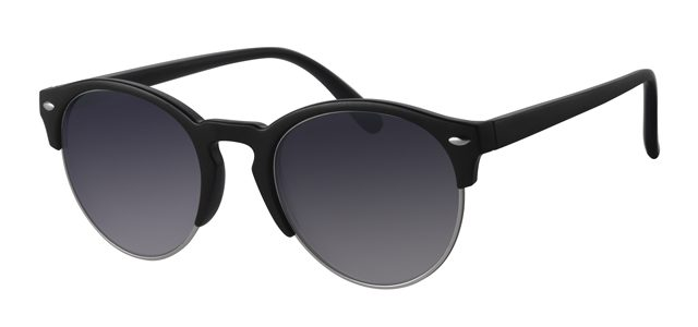 Ronde clubmaster zonnebril - A40302-1 Lens Grijs Montuur Zilver Zwart