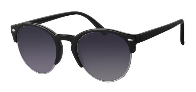 Ronde clubmaster zonnebril - A40302-2 Lens Grijs Montuur Zilver|Zwart