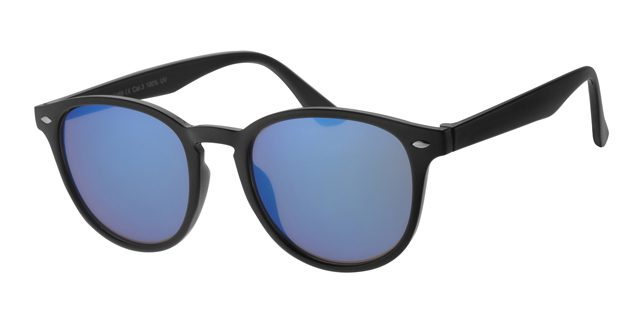 Ronde wayfarer zonnebril - A40389-2 Lens Blauw Montuur Grijs