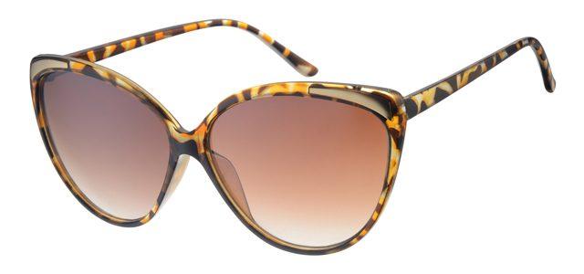 Cat eye zonnebril - A60694-1 Lens Bruin Montuur Geel Havana