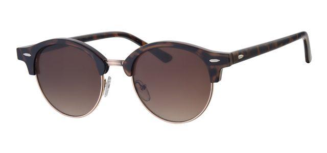 Ronde clubmaster zonnebril - L3203-1 Lens Bruin Montuur Bruin|Havana