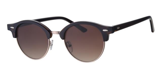 Ronde clubmaster zonnebril - L3203-2 Lens Bruin Montuur Bruin