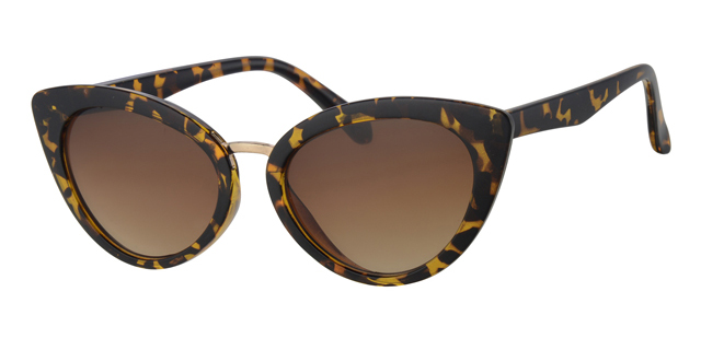 Cat eye zonnebril - L6261-3 Lens Bruin Montuur Geel|Havana
