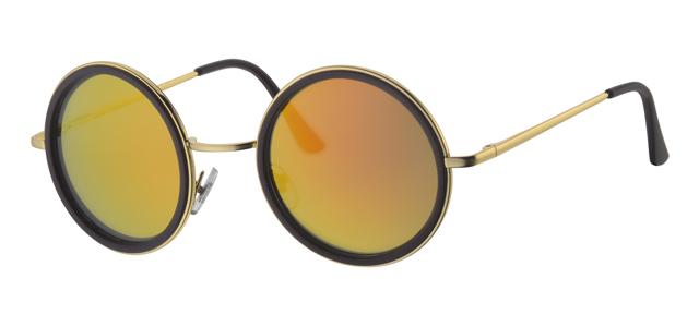 29358a8330d4cc Gouden kunststof en metalen ronde zonnebril met bruine lens